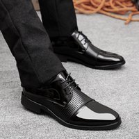 Oxfords black hole office - PP Fashion Western Style Men s Oxford Lace up Imported Patent Leather Dress Wedding Formal Platform Wedges Hollow Holes Business Shoes