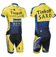 Wholesale Cheap Cycling Pants - Tinkoff Yellow Cycling Suit Team Cycling Jersey Sets Saxo Bank Ropa Ciclismo Quick Dry Summer Bicycle Racing Clothing Padded Pants Cheap