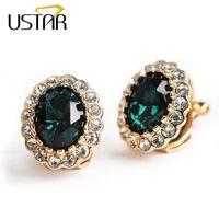 Wholesale top ear cuff - USTAR Green Zircon Crystal clip earrings for women Rose Gold color fashion Jewelry earring female Brincos ear cuff top quality