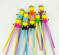 Wholesale Educational Chopstick - 100 BBA4079 baby minion learning chopsticks cartoon minions chopsticks Educational despicable me silicone tableware christmas halloween gift