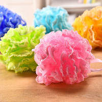Wholesale Sponge Bathing - High Quality Lace Mesh Pouf Sponge Bathing Spa Handle Body Shower Scrubber Ball Colorful Bath Brushes Sponges