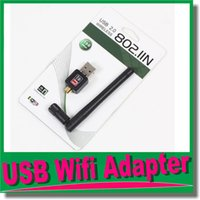 Wholesale USB External Dongle Wireless wifi Wi Fi Wlan Adapter M Mbps LAN Network Card Router for PC Laptop b g n dB Antenna OM CH9