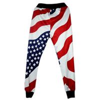 американский гарем брюки мужчины оптовых-Мужская одежда Брюки Повседневный Sweatpants Багги Гарем Слаксы Американский Флаг США Печать Брюки Подростковая Мальчики бегуном Танец Sportwear Одежда