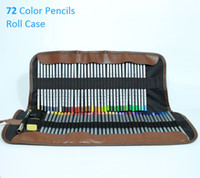 Wholesale Packaging Eraser - Marco 72 Colored Pencils Safe Non-toxic Pencil;72 Roller Pencil Case Roll Pouch Pocket Package with Eraser,Sharpner and Extender
