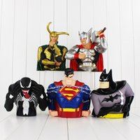 Wholesale Wholesale Batman Piggy Banks - 5 styles The Avengers Super Man Batman Thor Piggy Bank PVC Action Figures Collectable model toy piggy bank for kids gift free shipping