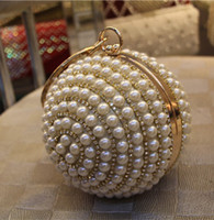 Wholesale Plastic Bags For Party - Women's Pearl Boll Evening Bag Round Ball Pearl Beaded Clutch Purse Mini Handbags Full Pearl Wedding Party Bags