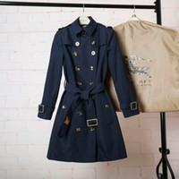 ingrosso caso del seno-Trench cappotto femminile lungo stile doppio petto 2017 primavera nuovo temperamento casa per costruire un classico cappotto britannico