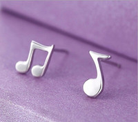 Fashion Music Note Stud Lovely Silver Color Note musicale Stud Earrings Pendientes Pour Femmes 925 Jewelry Wholesales Gift