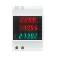 Wholesale Power Meter Din - AC 80-300V 0-100.0A ammeter voltmeter Din rail LED volt amp meter display active power power factor time Energy voltage current