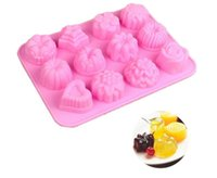 Wholesale 3d Flower Shaped Silicone - 12 Holes Flower Cake Molds Silicone 3D Different Flowers Shape Chocolate Molds DIY Mini Muffin Cake Moulds