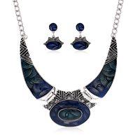 Wholesale Wholesale Epoxy Pendants - New Design Earring Necklace Sets Women Fashion Epoxy Short Necklace With Pendant Stud Earring Women 3colors Antic Silver Big Necklaces