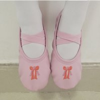 Wholesale Kids Fitness Gym Wholesale - Children PU ballet slippers girls Bows embroidery soft bottom practice shoes fashion kids cross bind elastic gym fitness shoes R0942
