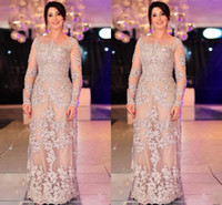 Wholesale elegent dress pictures for sale - Group buy 2017 New Elegent Mother Of The Bride Dresses Sheath Jewel Neck Illusion Long Sleeves Lace Appliques Plus Size Party Dress Evening Gowns