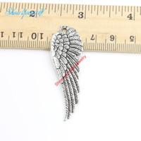 melekler kanat zanaat toptan satış-20 adet / grup Tibet Gümüş Kaplama Kalp Melek Kanatları Charms Kolye Bilezik Takı Yapımı için DIY El Yapımı Zanaat 51x17mm