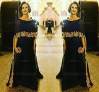 фотографии оптовых-Скромный темно-синий мать невесты Платья с крышкой Золотой аппликация 2017 плюс размер вечерние платья мать жениха платье
