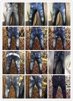 Wholesale Vogue Classic - 2017 New Classic Fashion Luxury Brand jeans DSQ Men Stylish Frayed Patchwork Jeans Hip zippers Pockets design Vogue Casual Skinny Denim Pant