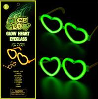Wholesale Heart Shaped Glow Glasses - Fluorescence Heart-shaped Glasses Frame Christmas Day Halloween Glow Stick Glow Toys