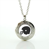Wholesale Formal Jewelry - Trendy formal popular jewelry locket necklace American sport rugby jewelry football black helmet accessory for men and womenNF082