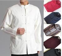 traje marcial al por mayor-Wholesale-10colors trajes tradicionales de algodón puro traje masculino hombres artes marciales camisas de manga larga topwing chun kungfu tai chi uniformes