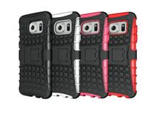 пластиковый телефон подставки оптовых-2в1 для Samsung s5 S6 S7 край прочный броня робот телефон случае гибридный силиконовый пластик жесткий Shell kickstand противоударный крышка