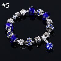 Wholesale Crystal Bead Colors - beaded charms jewelry bracelets infinity beads bracelet 6 Colors Fashion Silver Daisies Murano Glass&Crystal European Charm Beads Fits