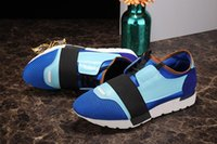 Wholesale Ladies Patchwork Shoes - High Quality 2017 Brand Race Runner Sneakers In Blue Leather Luxury Ladies Casual Race Runners Shoes