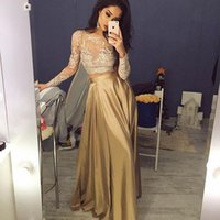 Wholesale Silver Taffeta Real - 2016 Cheap Crop Top Two Piece Prom Dresses Sexy Sheer Lace Applique Jewel Neck Long Sleeve Illusion Gold A-Line Taffeta Evening Party Gowns