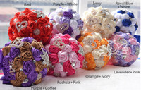 Wholesale Colorful Bridal Bouquets - Colorful Satin Rose Flowers Bridal Bouquets Wedding Accessories Manual Brooch Bridesmaid Bouquet Holding Flowers Crystal Pearls Beaded