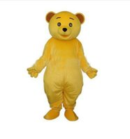 Wholesale Teddy Bear Carnival - EMS FREE SHIP Cheap Golden Yellow Teddy Bear Mascot Costume Adult Size Cartoon Character Mascotte Carnival Cosply Costume