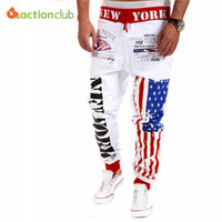 Wholesale Tops Star Designs - Wholesale-Top Design 2015 Personality Casual Pants Mens Joggers American Flag Star Print Trousers Overalls Sweatpants Hip Hop Harem Pants
