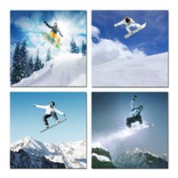 paint snowboard - Canvas Wall Art Snowboard Winter Sports for Home Decor Surprise Artwork Modern Snow Mountain Ski Canvas Print Landscape Picture set