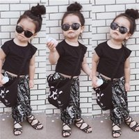 Wholesale National Outfits - INS children outfits girls T-shirts+Pattern Pull crotch pants 2pcs set baby girl National wind sets cotton children clothes
