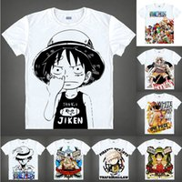 Wholesale luffy nami for sale - Group buy Anime Shirt ONE PIECE T Shirts Straw Hat Pirates Short Sleeve Monkey D Luffy Zoro Nami Chopper Cosplay Motivs Hentai Shirts