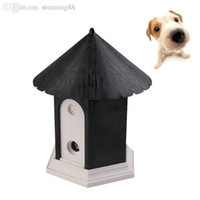 Wholesale Ultrasonic Outdoor Bark Control - Wholesale-New Arrival Black Puppy Outdoor Ultrasonic Anti Barking Control Birdhouse Bark Stop Sonic Pet Products Dog Supplies Trainings