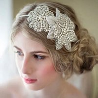 Wholesale Vintage Style Barrettes - Vintage Crystal Flower Wedding Headband Good Quality Handmade Bride Hair Accessories Fast Shipping Elegant Bridal Head Wear Princess Style