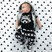 Wholesale Head Brand Baby - baby boys suit kids brand tracksuits boys The fox head short sleeved T-shirt+pants 2 sets free shipping hot sale new fashion spring autumn.