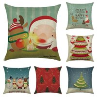 Wholesale Cars Christmas Ornament - Christmas Pillow Case Reindeer Elk Home Decor Gift Throw Ornament Sofa Car Printed Square Pillowcase Cushion Cover Decoration Decorative