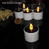 Wholesale Electronic Candle Tea Lights - Yellow Flicker Solar Power LED Light 6 pcs lot Candles Flameless Electronic Solar LED Lamp Nightlight Solar Energy Candle tea light