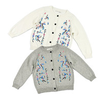 Wholesale White Childrens Coat - Wholesale Clothing BP Cotton Pullover Cardigan Fabric Flowers Sweaters Kids Clothes Knit Coat Outwear Fashion Boutique Childrens Clothing