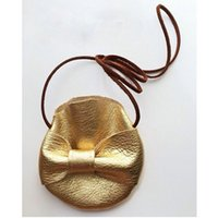 Wholesale Princess Coin - Girls INS bowknot gold PU wallet Bags new children fashion ins princess Coin Purses Handmade Kids Purses Handbags Crossbody Bag B001