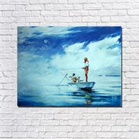 Wholesale Fish Oil Wall Paintings - Impression Fishing Wall Picture for Living Room Hand made Picture on Wall Modern Blue Oil Painting on Canvas No Framed