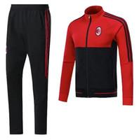 Wholesale Short Pants Suit Set - 2017 AC Milan Soccer sets training suit sweatshirt and pants survetement 2017 AC Milan Sweater Tracksuit Training Suit