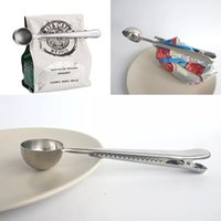 Wholesale Universal Coffee - Universal Heathful Cooking Tool Stainless Ground Coffee Measuring Scoop Spoon Dual use Bag Sealing Clip Kitchen Good Helper DIY WX-C38