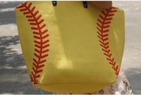 Wholesale ball closure online - white and yellow bag Cotton Softball Tote Bags Baseball Bag Football Bags Soccer ball Bag with Hasps Closure Sports digital camo