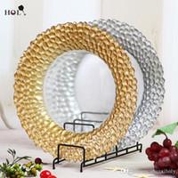platten für hochzeiten großhandel-Großhandel Hochzeiten Braid Gold Glas Ladegerät Platte