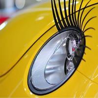 Wholesale Carbon Fiber Auto Stickers - Wholesale 10pcs Car 3D Charming Eyelashes Sticker Black Auto False Fake Eye Lash Headlight Decoration Funny Decal For VW Beetle JEEP HONDA