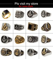 Wholesale Mason Rings Men - Unique design 316L stainless steel gold mason masonic master ring freemason signet rings jewelry for men G292