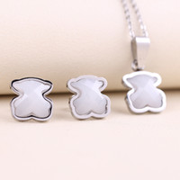 Wholesale Ceramic Jewelry Pendants - TOU TOSO Stainless Steel Cute white ceramics pendant Jewelry Necklace and Earring Set for women drop shipping