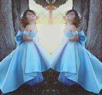 Wholesale Teens Cute - 2018 Cute High Low Flower Girl Dresses Sky Blue Off Shoulder Pageant Dress Bow Girl's Gowns For Wedding Birthday Party Dresses For Teens