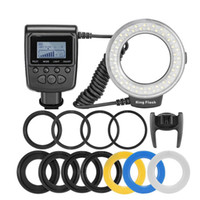 RF-550D Macro 48 LED Ring Flash Light Visor LCD Power Control para Canon para Nikon Universal DSLR